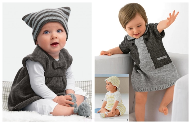 Knit Baby Dress Hat And Booties Set Free Knitting Patterns