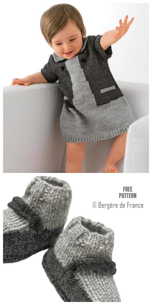 Knit Baby Dress And Booties Set Free Knitting Patterns