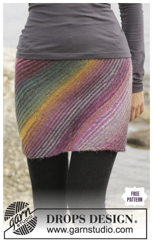 Easy Knit Colorful Women Skirt Free Knitting Pattern