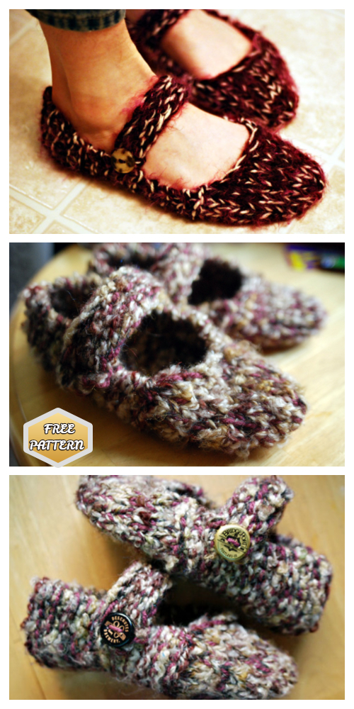 Knit Leethal Adult Mary Jane Slippers Free Knitting Patterns