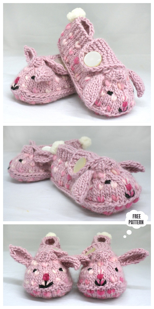 Knit Bunny Hop Thrummed Baby Bunny Slippers Free Knitting Patterns