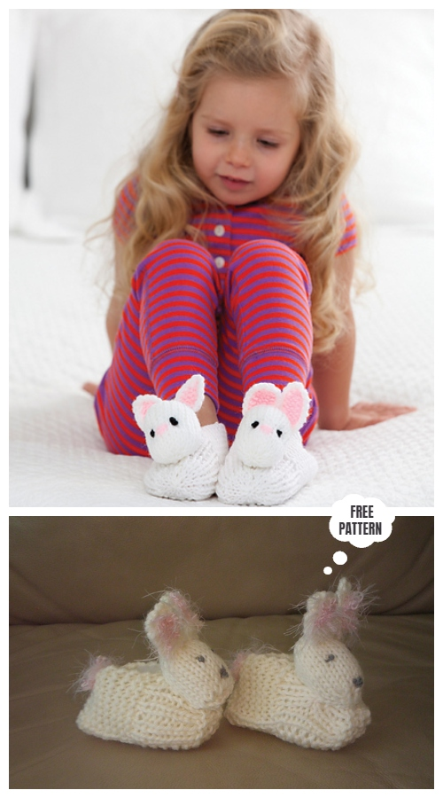 Knit Baby Pet Pal Bunny Slippers Free Knitting Patterns