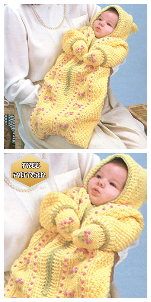 Knit Baby Bunting Coat & Mitt Free Knitting Patterns