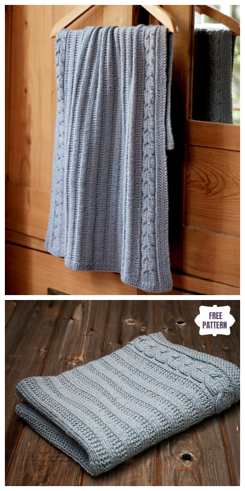 Knit Cable Blue Blanket Free Knitting Pattern Knitting