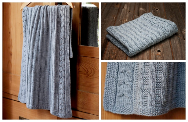 Knit Cable Blue Blanket Free Knitting Pattern