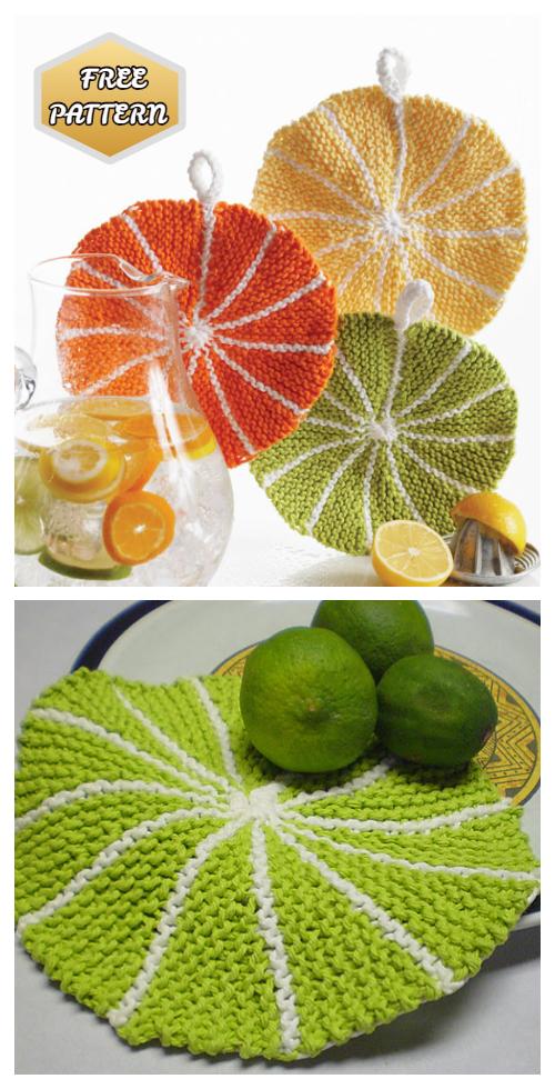 Knit Fruit Citrus Slice Dishcloth Free Knitting Patterns