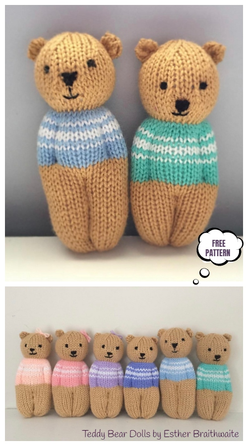 Knit Little Teddy Bear Doll Free Knitting Pattern