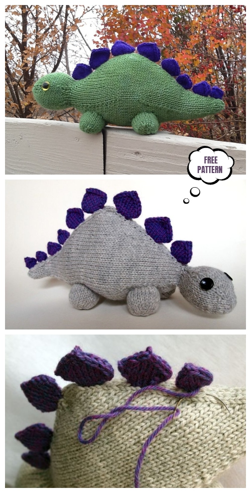 Knit Toy Dinosaur Free Knitting Pattern