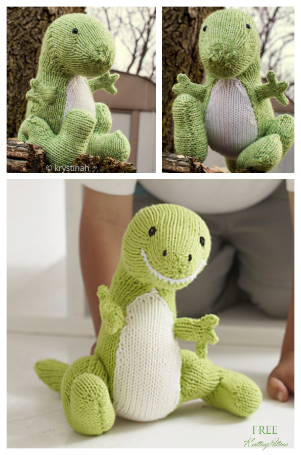 Knit T-rex Toy Dinosaur Free Knitting Patterns