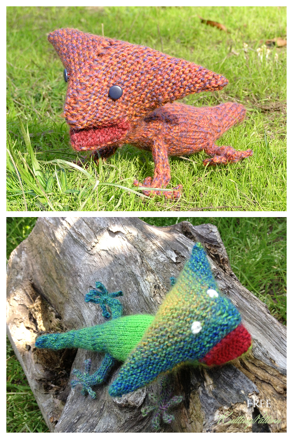Knit Toy Dinosaur Diplocaulus Free Knitting Patterns