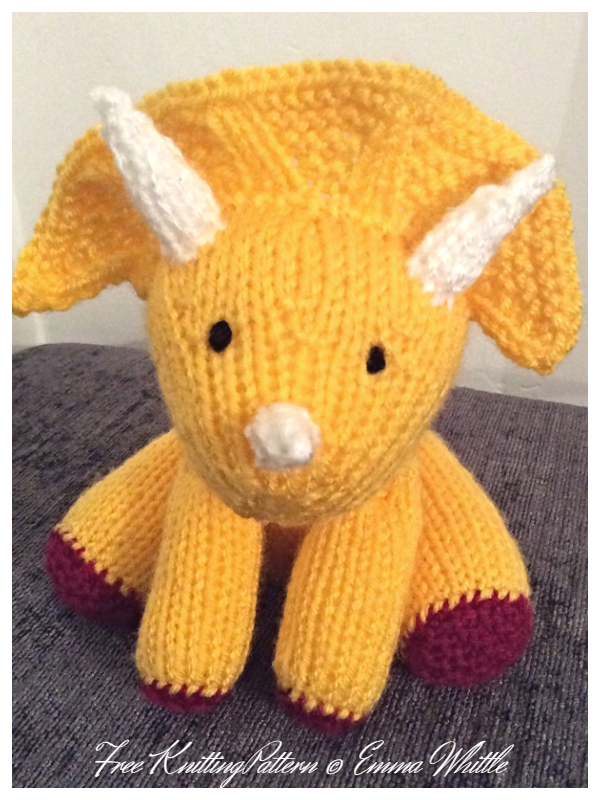 Knit Toy Dinosaur Triceratops Free Knitting Patterns