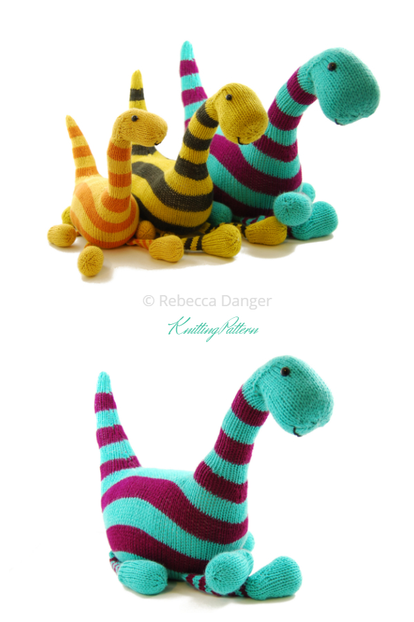 Knit Toy Basil the Boogie-Woogie Brontosaurus Knitting Patterns