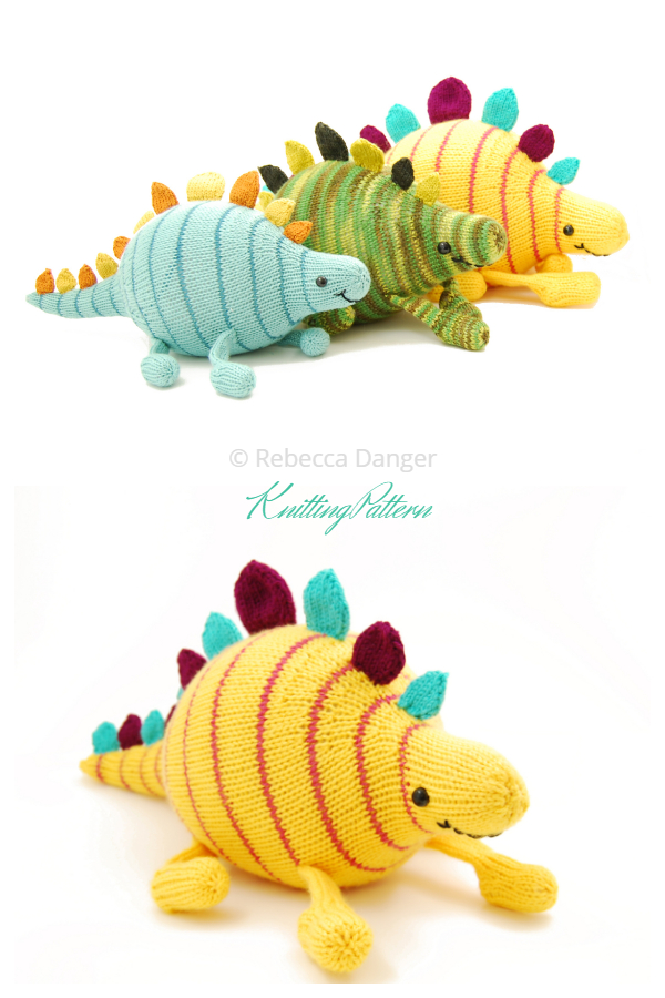 Knit Toy Dinosaur Sherman the Square Dancing Stegosaurus Knitting Patterns