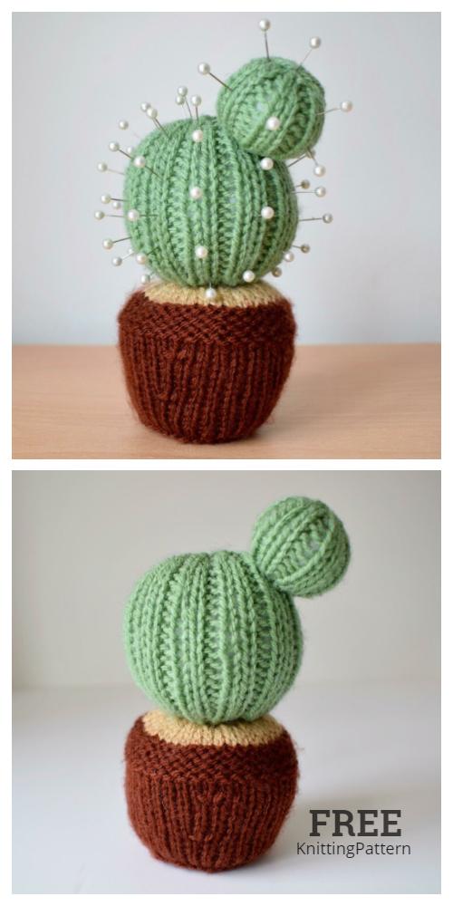 Knit Cactus Pincushion Free Knitting Patterns