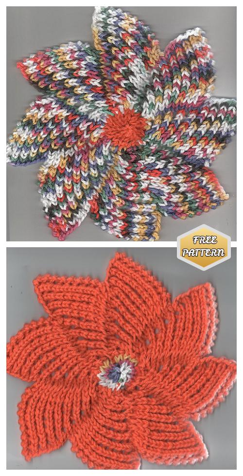 Knit Zinnia Dishcloth Free Knitting Pattern