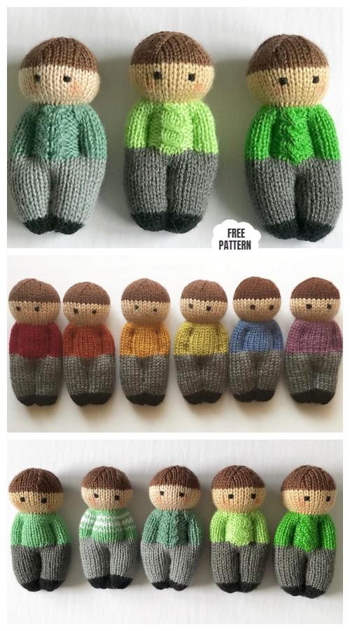 Knit One-Piece Izzy Buddy Boy Dolls Toy Free Knitting Patterns