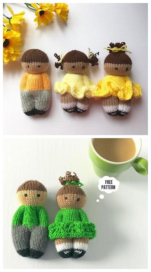 Knit One-Piece Pretty Izzy Dolls Toy Free Knitting Patterns