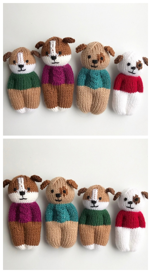 Knit One-Piece Furry Friends Puppy Dolls Toy Knitting Patterns