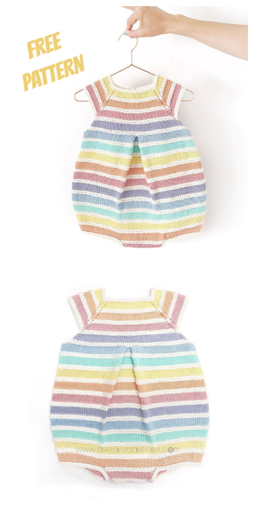 Knit Rainbow Baby Romper Free Knitting Patterns