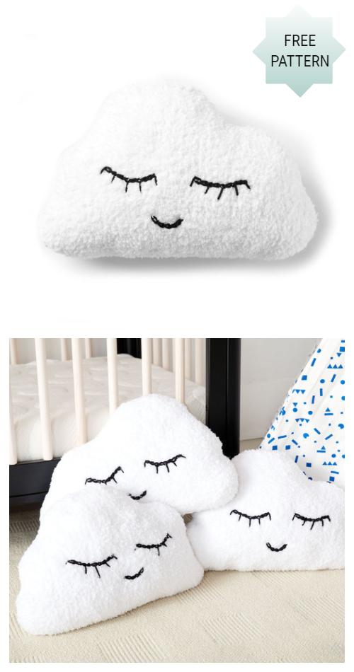 Knit Clouds Pillow Free Knitting Pattern