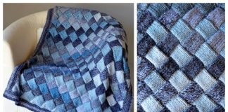 Knit Entrelac Woven Sky Throw Free Knitting Pattern
