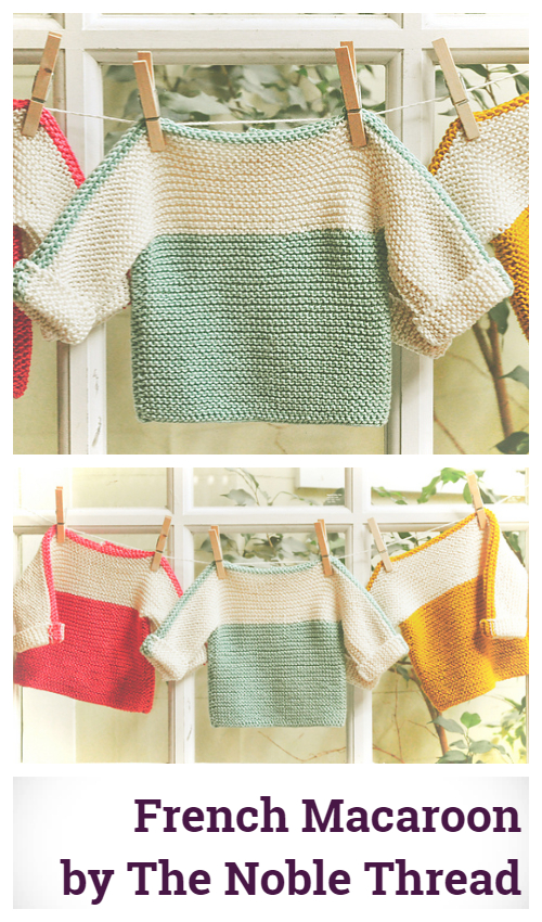 Knit French Macaroon Baby Pullover Sweater Free Knitting Pattern