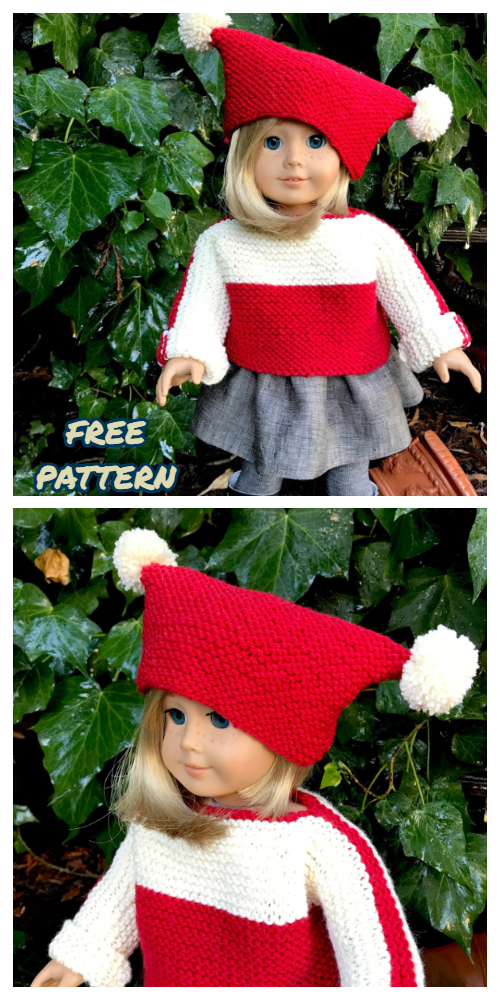 Knit French Macaroon Doll Pullover Sweater&Hat Set Free Knitting Patterns