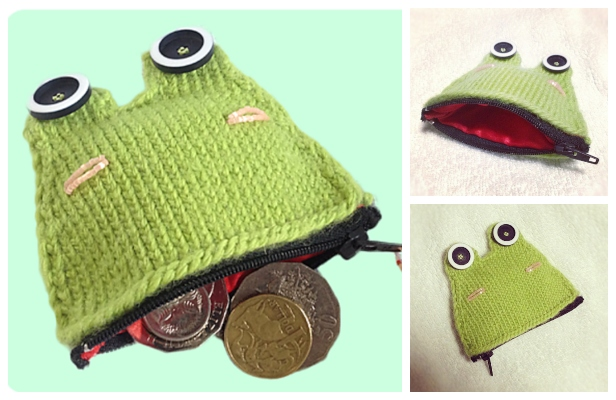 Knit Frog Coin Purse Free Knitting Pattern