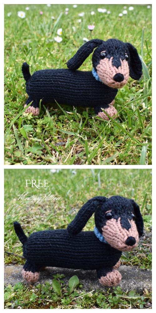 Knit Toy Dachshund Dog Free Knitting Patterns