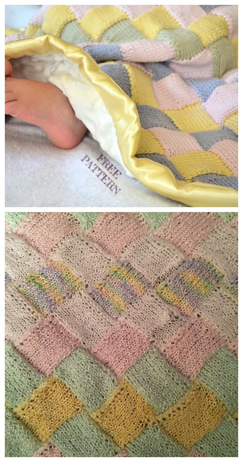 Entrelac Knit Baby Blanket Free Knitting Pattern
