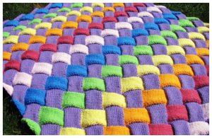 Entrelac Knit Baby Blanket Free Knitting Pattern