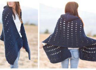 Knit Adak Hooded Wrap Free Knitting Pattern