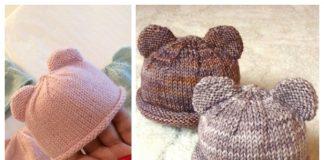 Knit Bear Cub Beanie Hat Free Knitting Pattern