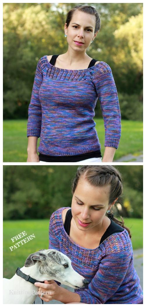 Knit Gemini Tee Top Fee Knitting Pattern