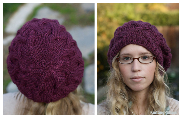 Knit Star Crossed Slouchy Beret Hat Free Knitting Pattern