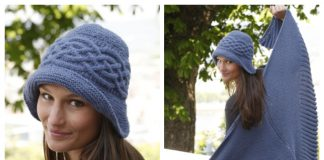Knit Cabled Weekend Women Shawl Hat Set Free Knitting Pattern