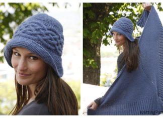 Knit Cabled Weekend Women Shawl Hat Set Free Knitting Pattern