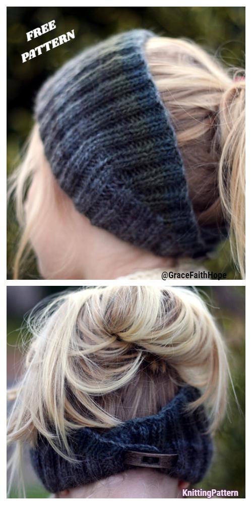 Knit Calorimetry Button Back Headband Free Knitting Patterns