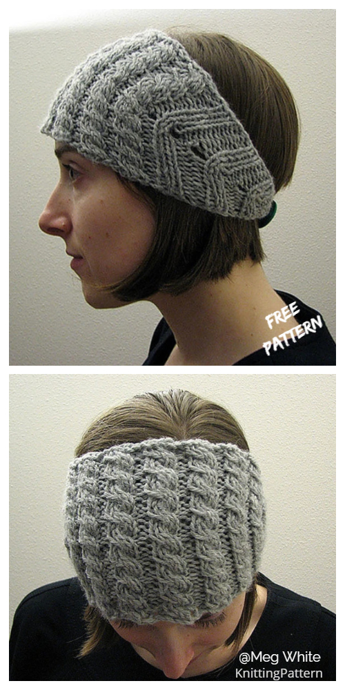 Knit Button Back Cablerimetry Headband Free Knitting Pattern