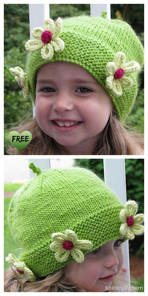 Knit Daisy Flower Beanie Hat Free Knitting Pattern