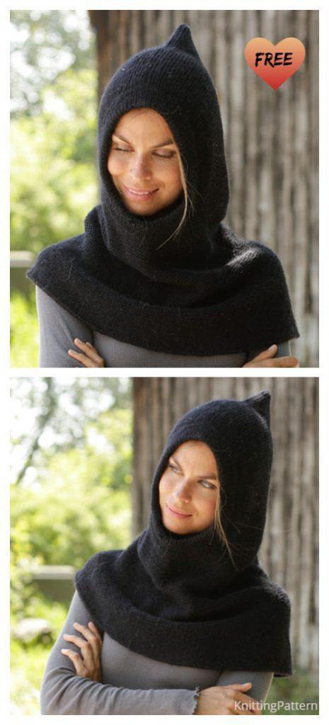 Easy Women Garter Stitch Hooded Cowl Free Knitting Pattern