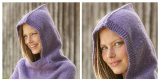 Easy Women Garter Stitch Hooded Cowl Free Knitting Pattern