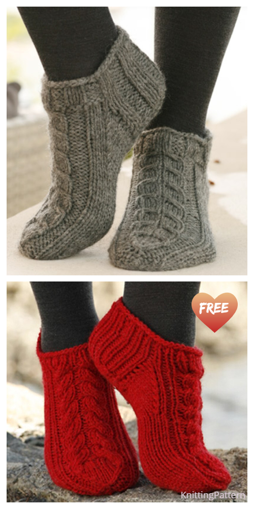 Knit Ankle Cable Sock Free Knitting Pattern