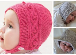 Knit Cable Baby Bonnet Free Knitting Patterns