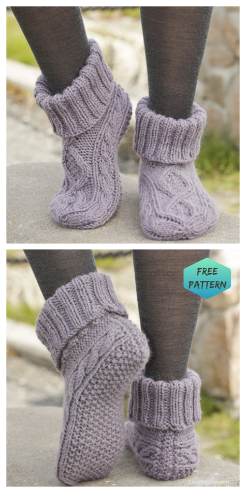 Knit Cable Slippers FREE Knitting Pattern