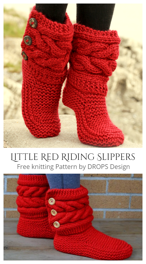 Knit Little Red Riding Cable Slippers FREE Knitting Pattern + Video