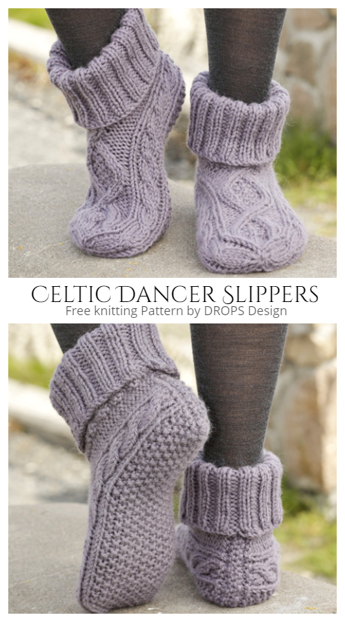 Knit Celtic Dancer Cable Slippers FREE Knitting Patterns