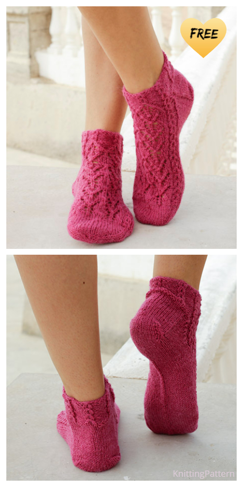 Knit Lace Ankle Socks Free Knitting Patterns
