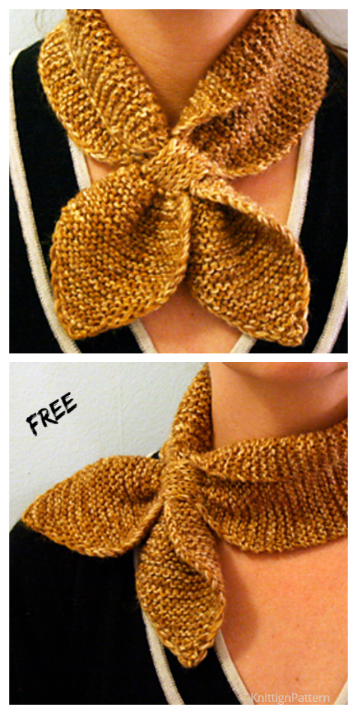 Knit Leaf Neck Scarf Free Knitting Pattern