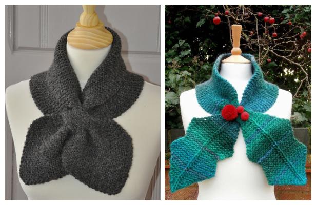 Knit Leaf Neck Scarf Free Knitting Patterns - Knitting Pattern